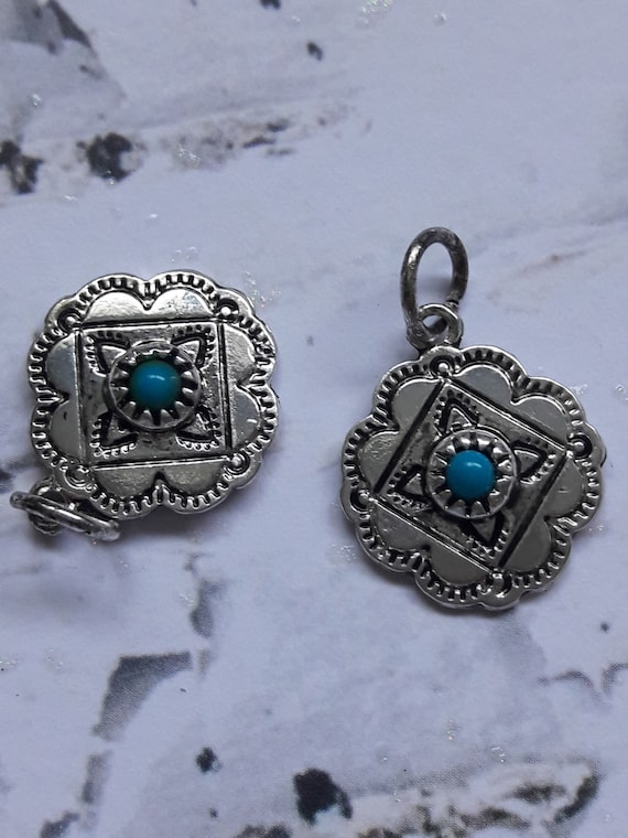 indian jewelry supply silver turquoise concho pendant charm flowers 9786
