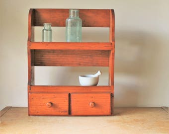 Antique Pine Hanging Shelf with Drawers - Primitive - Handmade - Small - Country - Farmhouse - Antique Vintage - wood wooden