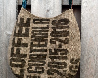 Large Hobo Recycled Coffee Burlap Bag  Guatemala