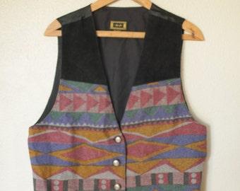 vintage black leather & navajo tribal southwestern pattern vest