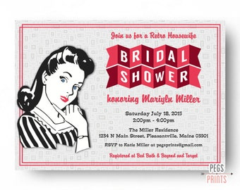Retro Housewife Bridal Shower Invitation - Printable Retro Kitchen Shower Invitation - 50s Bridal Shower - Vintage Bridal Shower Invitations