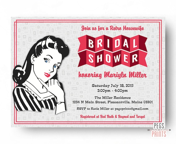 Retro Housewife Bridal Shower Invitation Printable Retro Kitchen