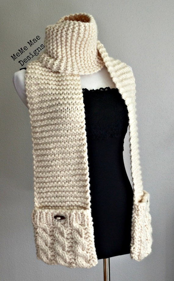 Knitted Pocket Scarf Pattern : KNITTING PATTERN - Scarf Pattern, Pocket Scarf, Penny ...