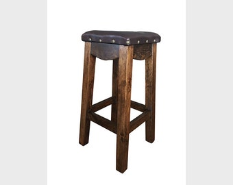 Western Southwest Southwestern Solid Wood Leather Bar Stool 24 30 in