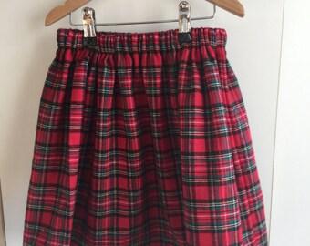 Tartan girls skirt Royal Stewart brushed cotton elasticated waist hairband bow