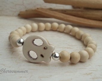 Holzperlenarmband Whitewood Skull for Men