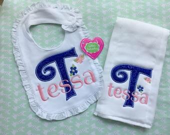 Bib and Burp Towel Applique Set, Baby Set, Baby Gift