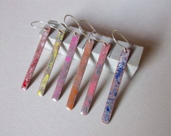 Pink and grey enamel earrings