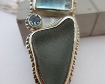 Sea glass, aquamarine and sterling silver statement necklace