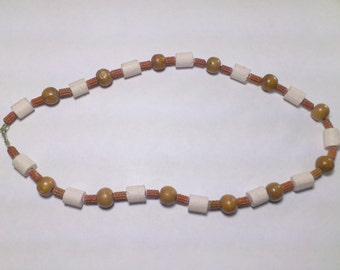 Necklace in clay stone and wood for men