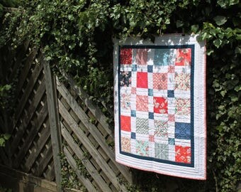 Patchwork baby quilt with tulips and butterflies - READY TO SHIP - stroller quilt - red, white and blue - patriotic - Liberty backing