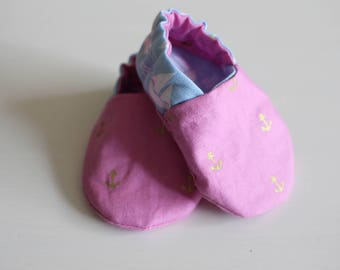Pink and Blue Nautical Baby Booties - Baby Shoes