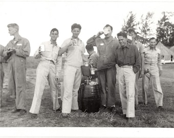 soldiers home from war  ~ Vintage Snapshot Photo