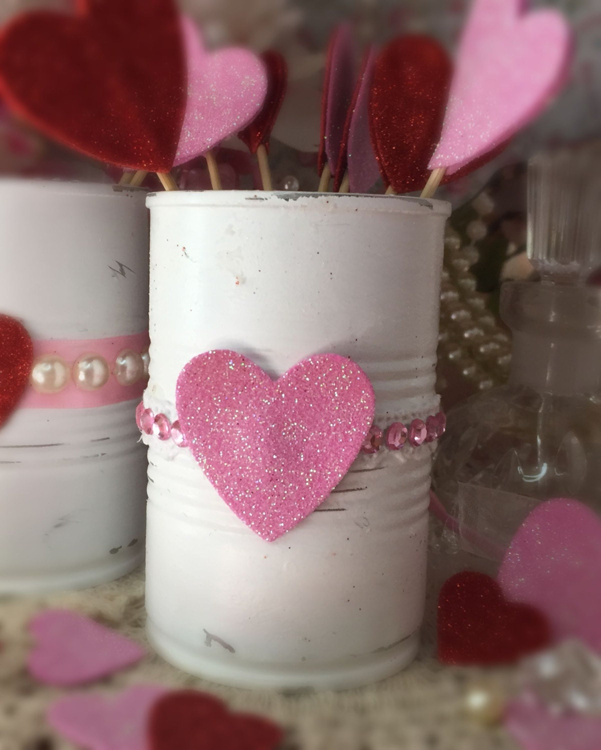 4 valentines day decor white painted small tin cans glitter love