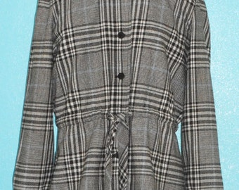 """60s70s Vintage Ladies """"Modern Juniors"""" Plaid Woven Wool Belted Jacket — Size Large"""