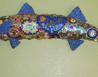 """OOAK """"Badass Barracuda"""" Outsider Art Bejeweled Preserved Fish Wall Art"""