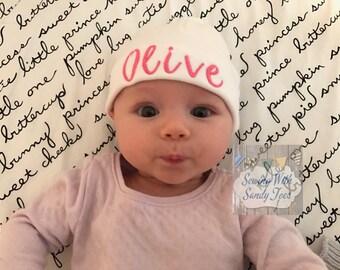 Personalized Baby Newborn Beanie Hat, Baby Hat, Baby Beanie, Newborn Beanie, Hospital Baby Beanie, Baby Shower Gift, Baby Gift