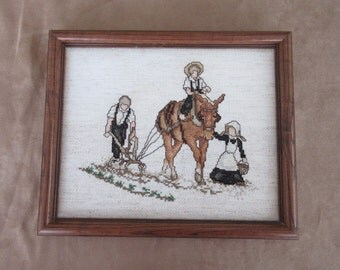 """Hand Embroidered Matted and Framed, """"Amish working the Field"""""""