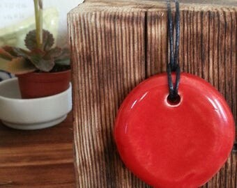 Ceramic red necklace
