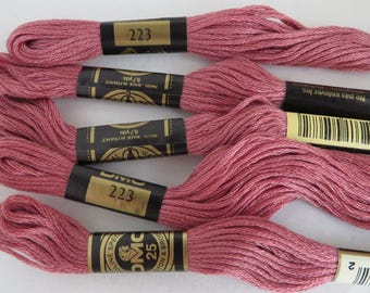 DMC 223 Pink Embroidery Floss, Cross Stitch Floss , 5 Skeins