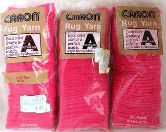 Vintage Caron Hot Pink Rya Rug Yarn, 1970s Montgomery Ward Rug Hooking Supplies