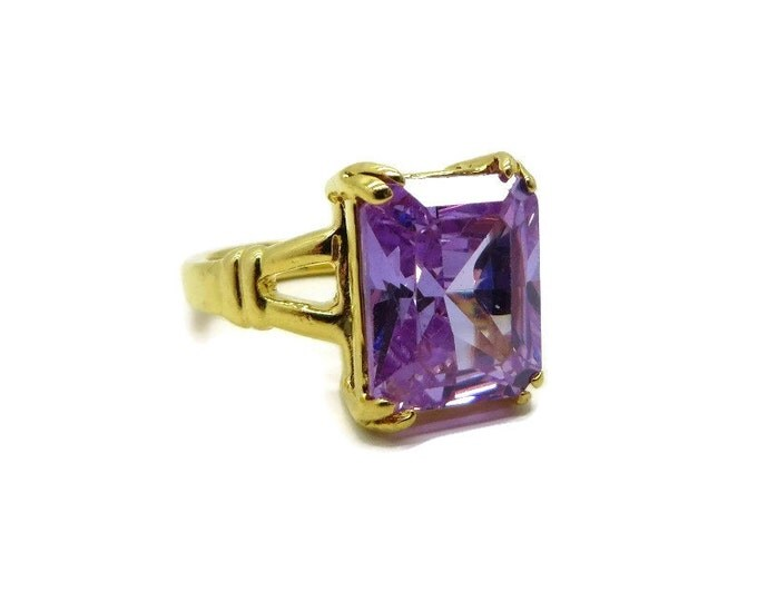 Amethyst CZ Ring, Vintage Gold Plated Ring, Emerald Cut CZ Ring, Signed Seta Ring Size 5, Free Shipping