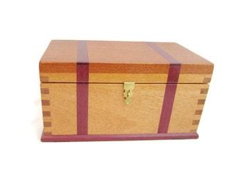 Hand Crafted Mahogany Box with Purple Heart Inlay