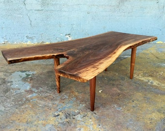 SOLD - Highly Figured, Live Edge Black Walnut Coffee Table