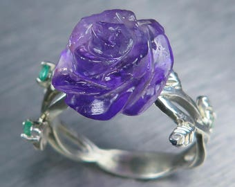 6.25ct Natural purple Amethyst rose & emerald 925 sterling silver/9ct, 14k 18k 375 585 750 yellow white rose gold floral rose ring all sizes