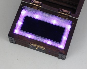 Treasure Chest Ring Box Zelda Inspired - Purple Lights