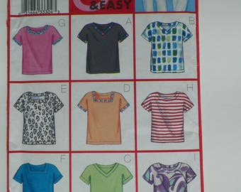Misses Plus Size Sewing Pattern UNCUT Easy Top In 9 Variations Butterick 3086 Sizes L (16-18) XL(20-22) Bust 38-40-42-44