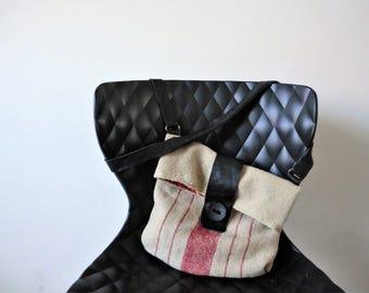 Italian handwoven hemp bag, Italian recycled leather,30-ties hemp, eco bag, Dutch-Italian recycle design, natural gift. JJePa