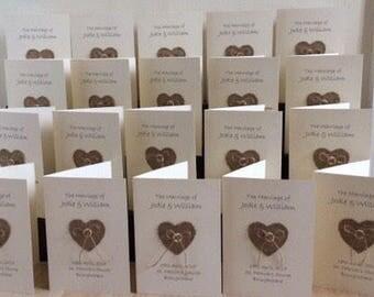 10 x hessian heart Order of Service