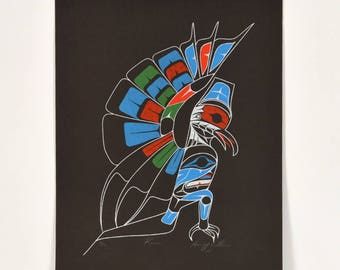 Vintage 1984 Raven Harvey Williams Nuu-chah-nulth Silkscreen Print