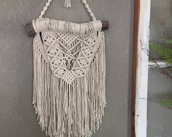 Macramé Wall Hanging on Naturally Stained Pine Wood