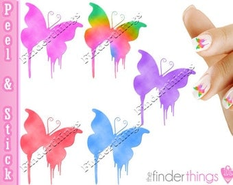 Multi color Dripping Butterfly Nail Art Decal Sticker Set BFY903