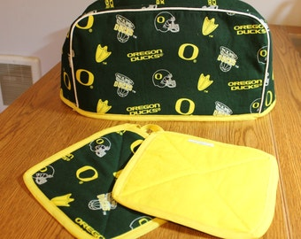UofO Ducks toaster cover and pot holders
