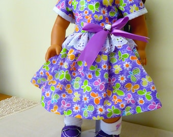 """18"""" Doll Purple Summer Dress,Socks, Shoes/AG Cotton Butterfly Print Dress/Girl Doll outfit/American Doll Accessory/Girl Gift/free shipping"""