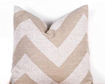 """SALE ENDS SOON Chevron Print Pillow Covers, Decorative Throw Pillows, Cushion Covers, Cream, Tan, 18 x 18"""""""