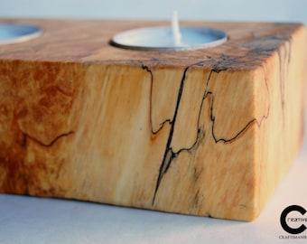 Chunky Wood Tea Light Holder