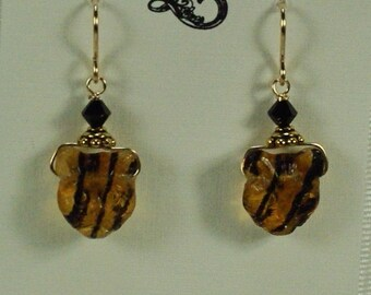 Brown Glass Tiger Cat Earrings, Black Stripe Earring, Cat Face Earrings, Black Cat Earrings, Cat Lover Earrings, Tiger Cat Earrings Under 15