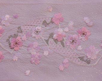 Sakura embroidery fabric / Silk stole/ Pink