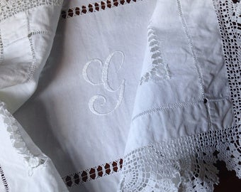 """Antique Lace Tablecloth, Antique Dressing Table Topper, Edwardian, Hand Embroidered Monogram """"G"""", Lace Tablecloth, VTC232"""