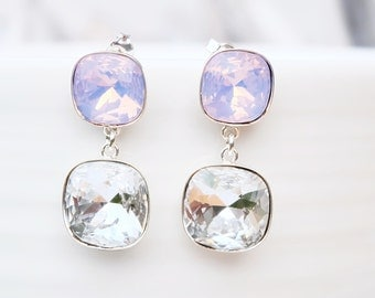 Sterling Silver Sawrovski Crystal Earrings-Square Cushion Earrings-Rose Pink Clear Crystal Earrings-Modern Silver Earrings-Swarovski Jewelry