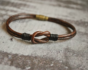 Minimalist sailor knot leather bracelet | mens leather bracelet | nautical knot bracelet | lederarmband | pulsera cuero | leather wristband