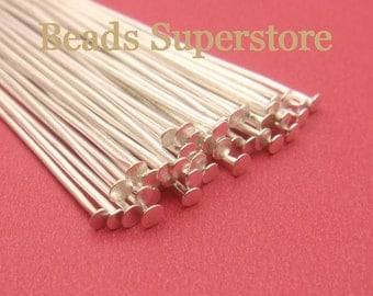 SALE 2 Inch (50 mm) Silver-Plated Head Pin - Nickel Free and Lead Free - 100 pcs (PP2S)