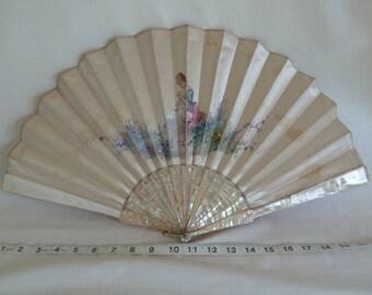 Gorgeous antique mother of pearl fan. Hand painted satin fan. Wedding fan. Vintage fan. Bridal fan. Collectors fan. Victorian fan