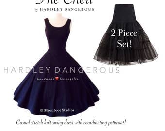 Sale! Mod BLACK Swing Dress and A-Line Petticoat Set by Hardley Dangerous Couture, Casual Stretch Knit Party Dress Set
