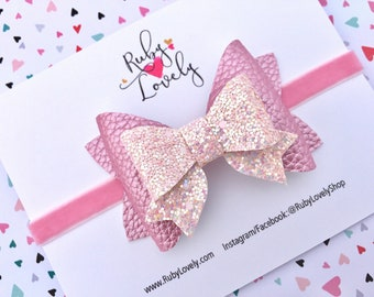Pink Bow, Pink Glitter Bow, Pink Leather Bow, Pink Headband, Pink Birthday Bow, Pastel Bows, Pink Glitter Bows, Pink Bows, Pastel Headbands
