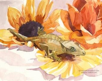 Flower Gecko print